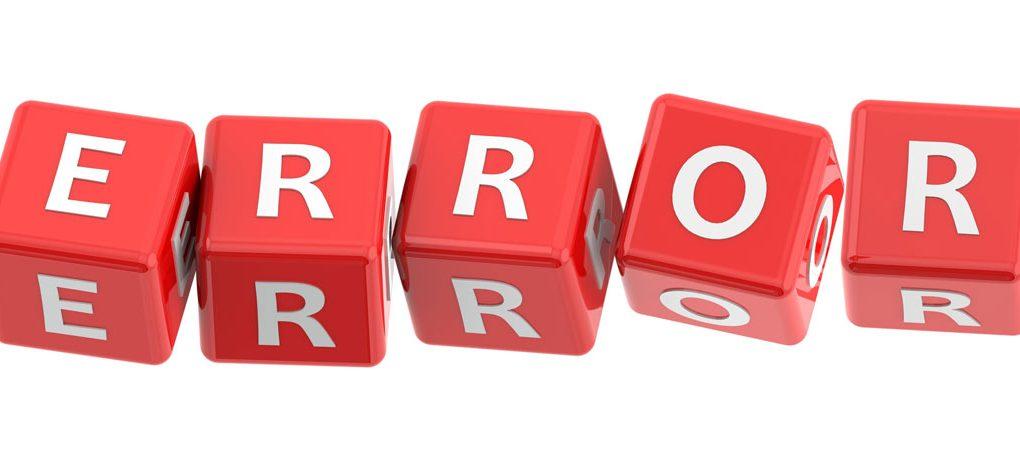 Red dice spelling ERROR