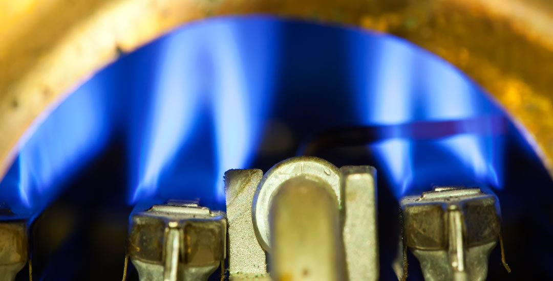 Blue gas flame in a water heater