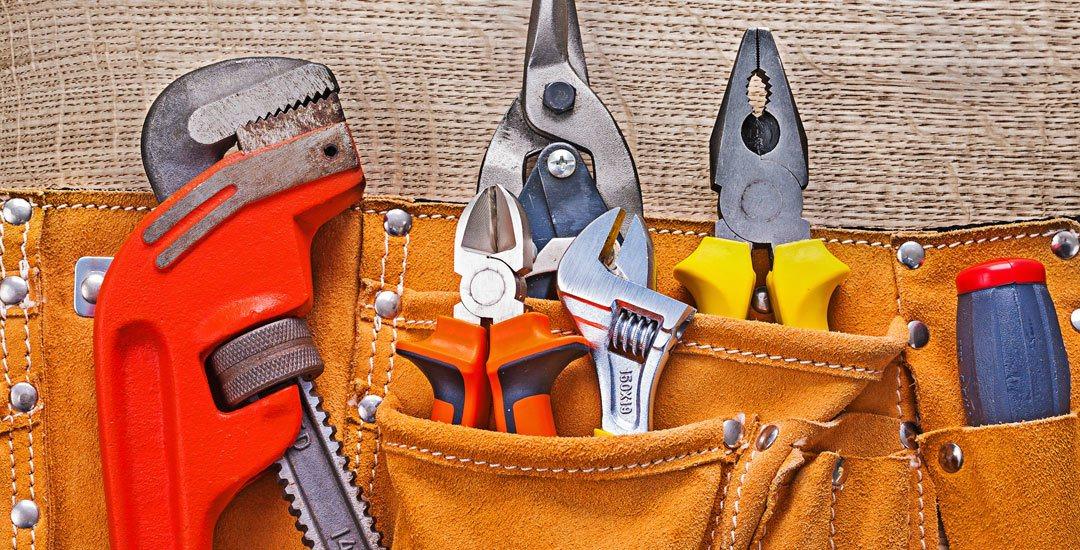 Tool belt with plumbers tools