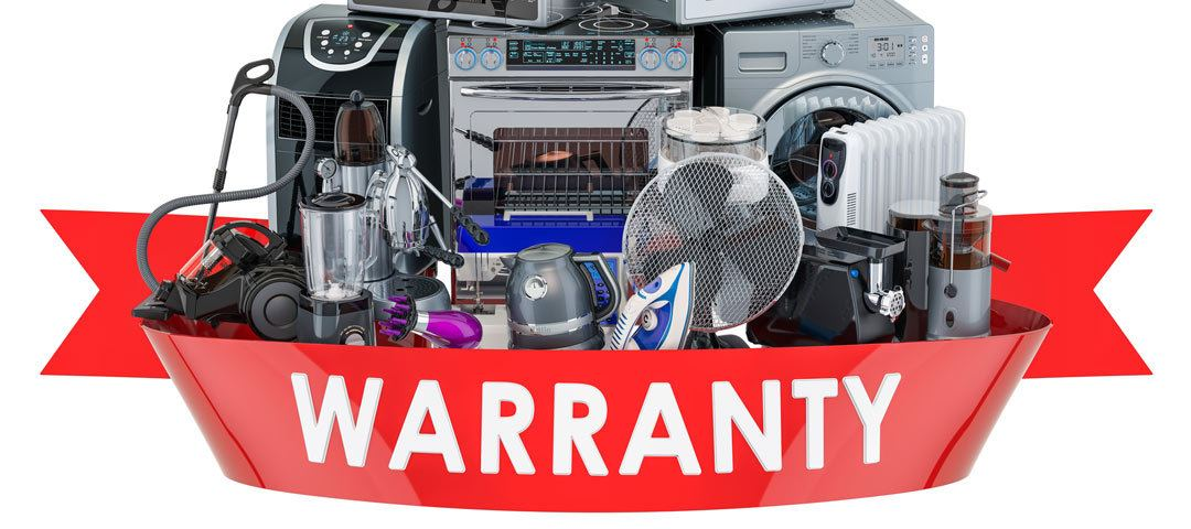 Warranty ribbon with pile of appliances