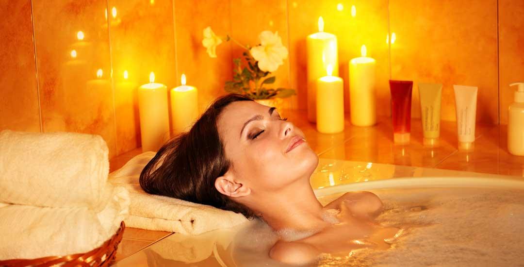 Woman take a hot bath