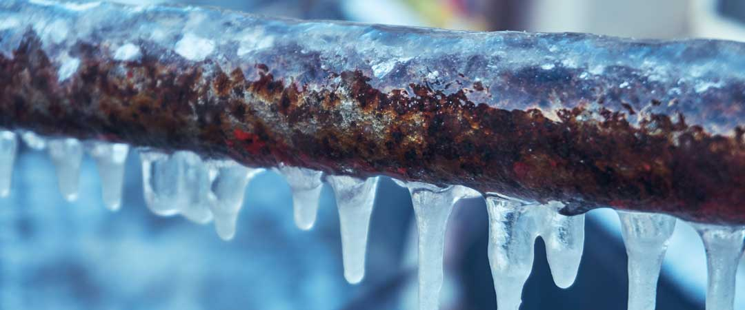 Frozen Pipe with Icicles